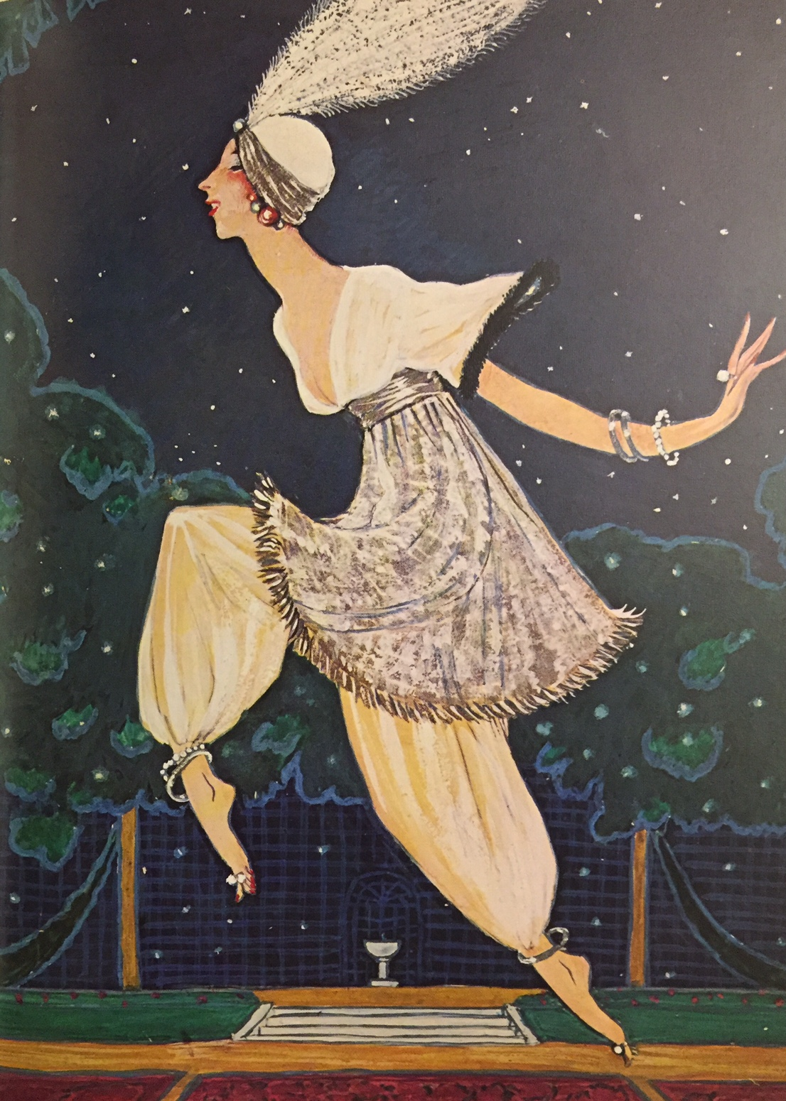 "A gouache given by Georges Lepape to Madame Poiret as a souvenir of the ""1002d Night"", 1911. It shows her escaping from the cage in which she had been ""imprisoned""."