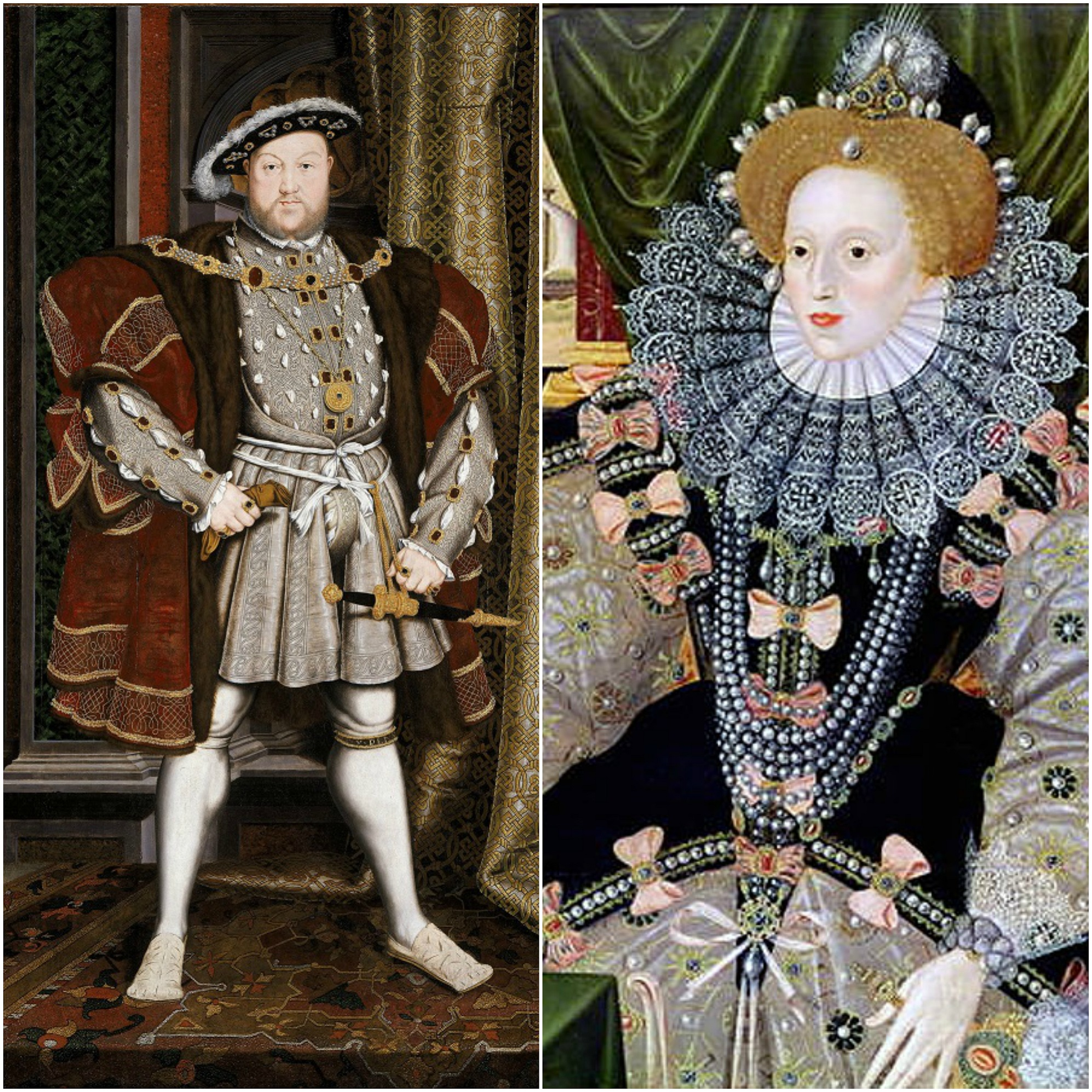 Henry VIII of England and his daughter Elizabeth I of England. Source: Google